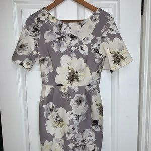 NWT gray and white floral cocktail dress 🌸